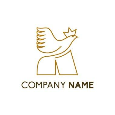 Elegant K letter logo design concept. Plus the symbol of a bird wearing a crown. Vector illustration. icon