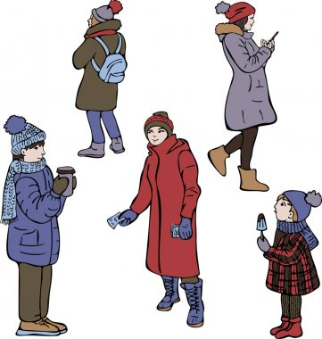 Vector collection of people in winter clothes. Seasonal cartoon illustration, wintertime. icon