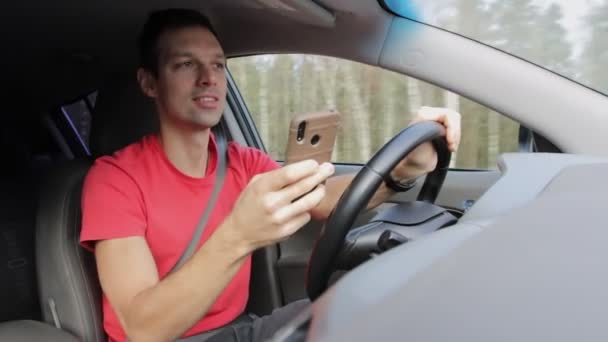 Man plays on phone or gets distracted while driving. Unsafe use of phone, accident on road. Fright and shock of vehicle driver at high speed