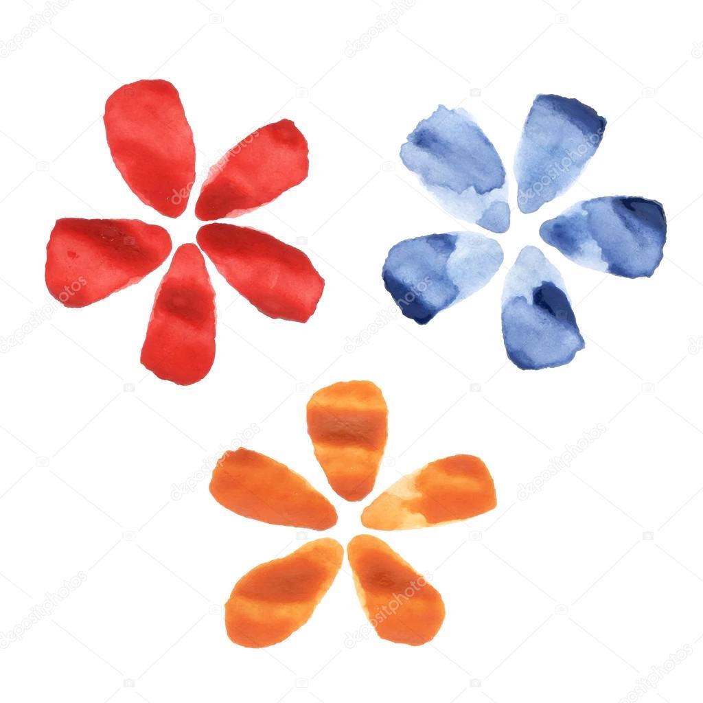 Imágenes Acuarelas Flores Sencillas Flores De Acuarela Vector