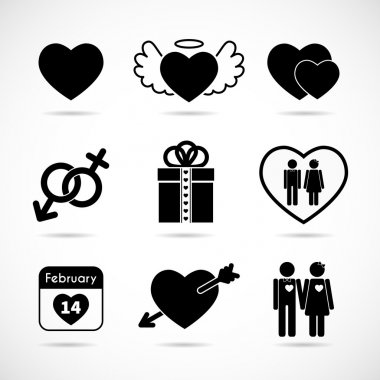 Set of icons on the theme of love and Valentine's day