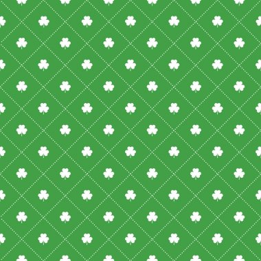Seamless pattern with clovers leaves and dots in rhomb shape for design of St. Patricks Day items.