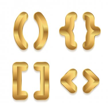 Golden alphabet. Set of metallic 3d punctuation marks.