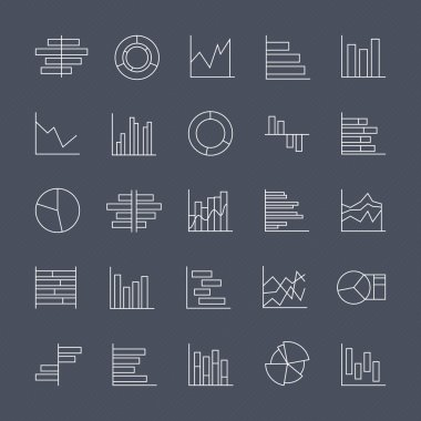 Set of chart icons in thin lines.
