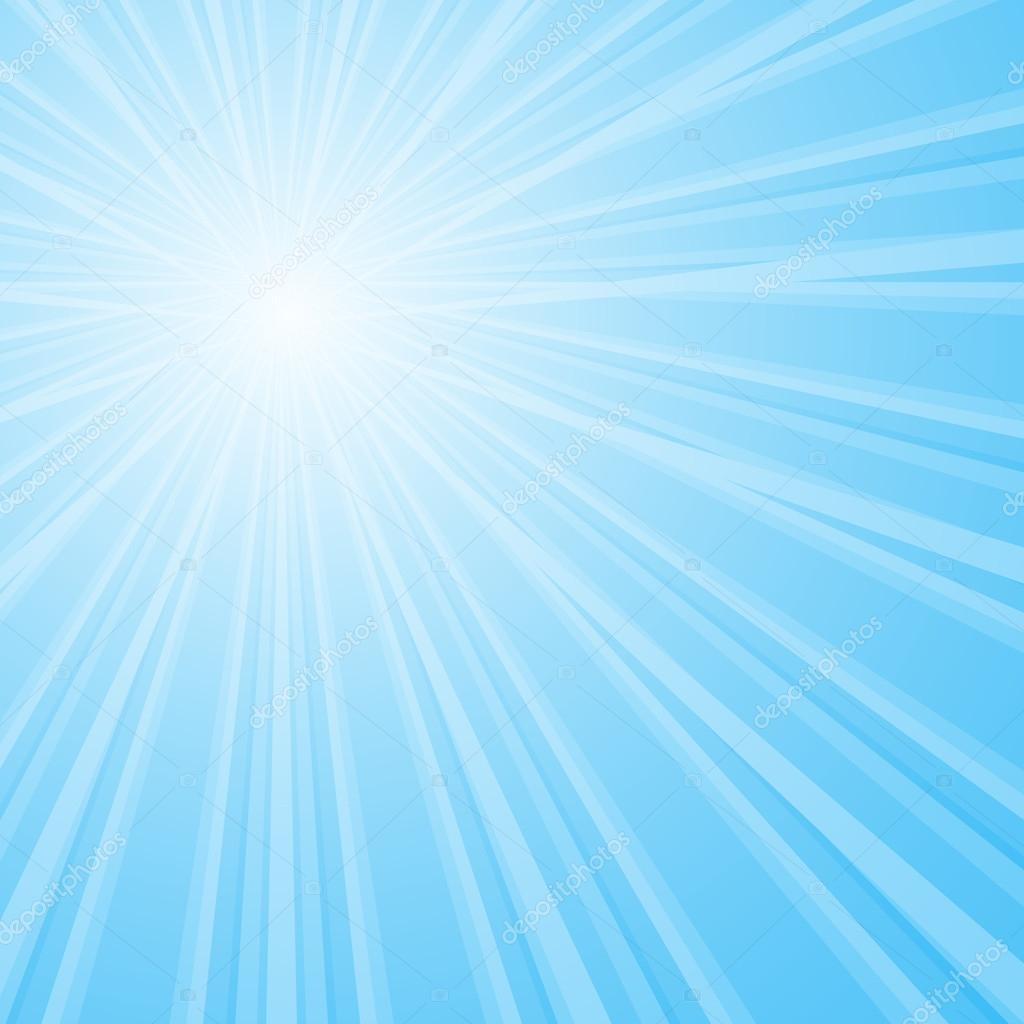 Background with shining star with divergent bundle of beams in blue colors.