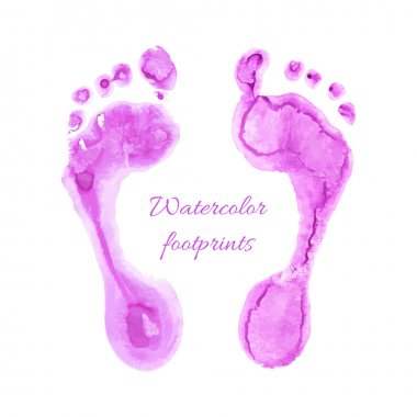 Watercolor children foots