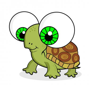 Cute cartoon turtle with big eyes and smiling. Vector illustration isolated on the white background.