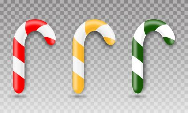 Set of realistic christmas candy cane. Template for greeting card on Christmas and New Year. Red, yellow and green candy canes on transparent background. icon