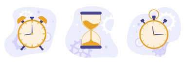 Set of clock, hourglass and stopwatch icon