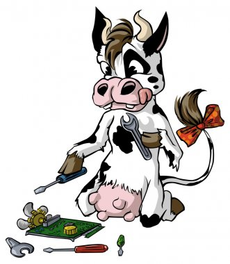 Cow in action