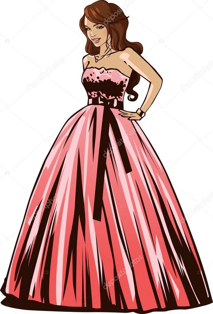 novia vestido de novia — Vector de stock © eokotnikova #61863451