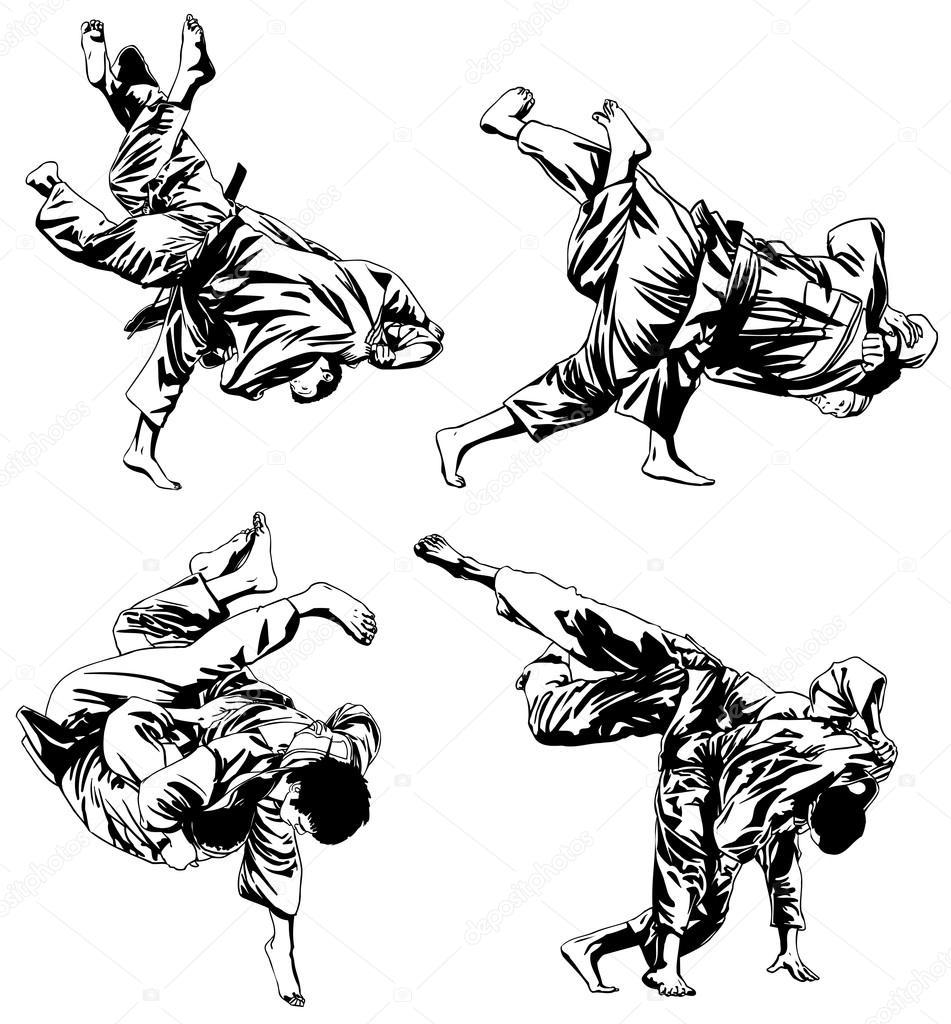 Japan Aikido fighting — Stock Vector © eokotnikova #64597319