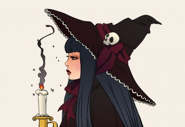 Young Witch in hat with candle