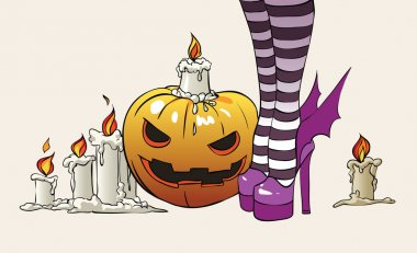Witches feet and pumpkin