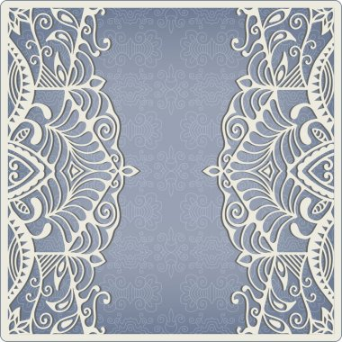 Abstract background, lacy frame border pattern, wedding invitation card design