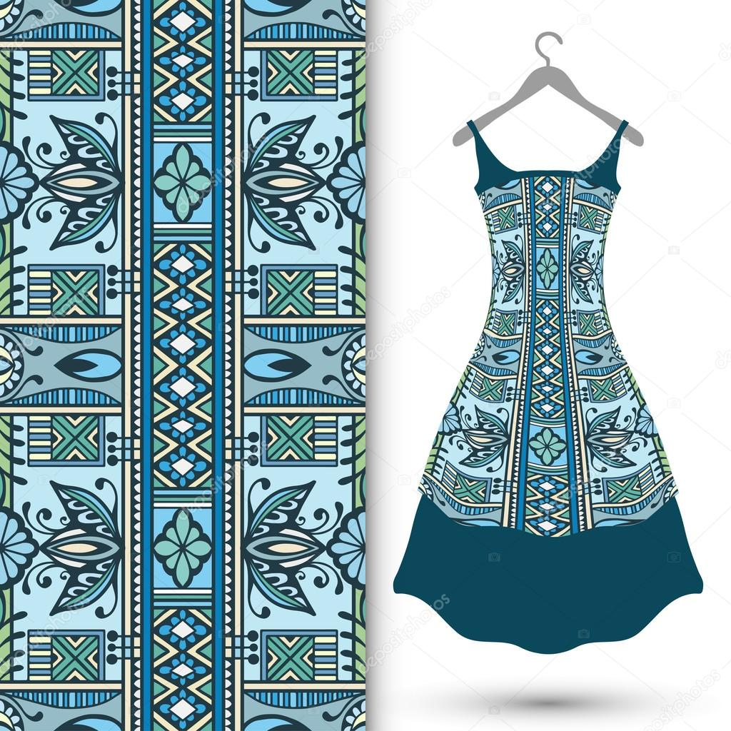 Fashion Seamless Geometric Pattern Womens Dress On A Hanger