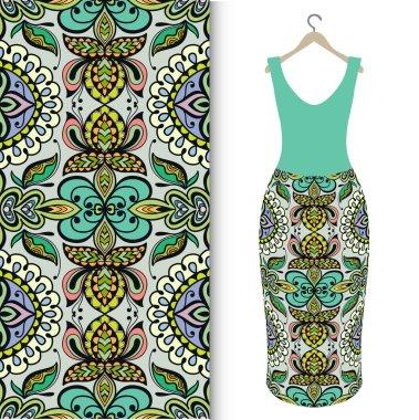 Fashion seamless geometric pattern, womens dress on a hanger, invitation card design.