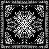 Black Bandana Print, silk neck scarf or kerchief square pattern design style for print on fabric, vector illustration