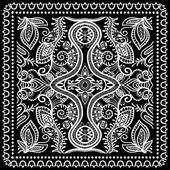 Fotografia Bandana di stampa nero, sciarpa di seta collo o fazzoletto quadrato modello design stile per stampa su tessuto, illustrazione vettoriale