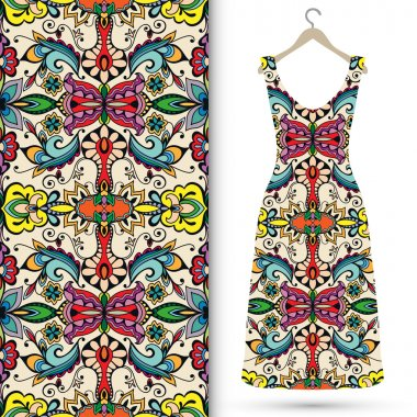 Seamless floral geometric pattern, womens dress on a hanger. Tribal ethnic ornament fabric texture