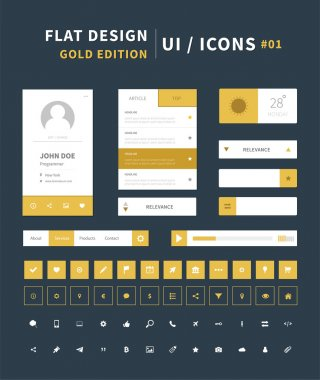 Vector flat design ui kit for webdesign