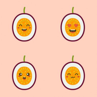 Cute smiling exotic passion fruit. Kawaii fruit character. tropical fruit design Isolated colorful vector icon icon