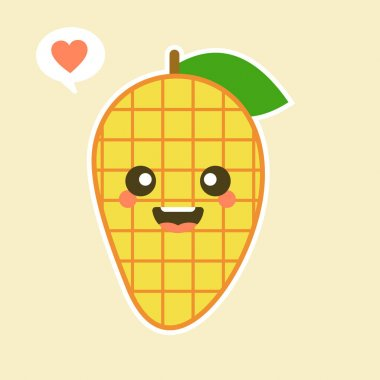 Cute and kawaii Flat Cartoon Mango Illustration. Vector illustration of cute mango with smilling expression. Cute mango mascot design icon