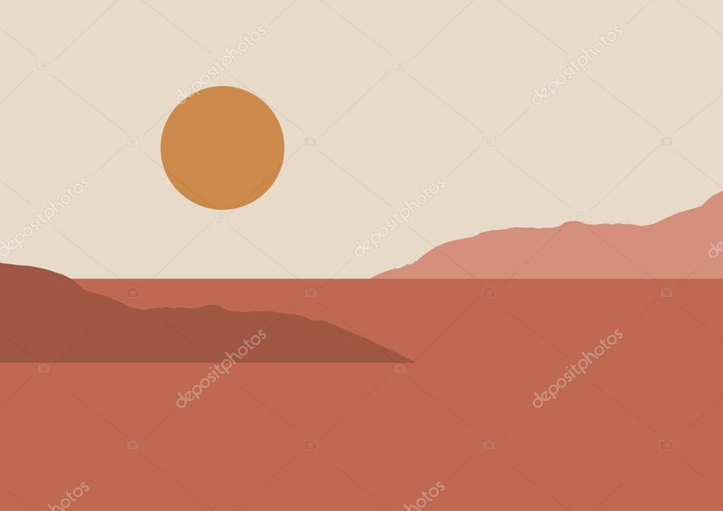 Abstract Contemporary Aesthetic Backgrounds Landscapes Set With Sunrise Sunset Earth Tones Pastel Colors Boho Wall Decor Mid Century Modern Minimalist Art Print Flat Design Premium Vector In Adobe Illustrator Ai