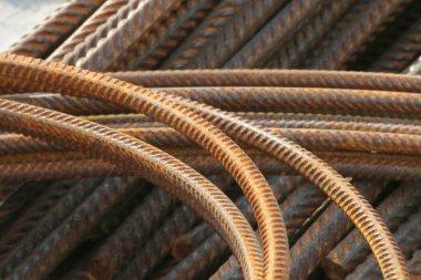 Rusty rebars, bent and straight