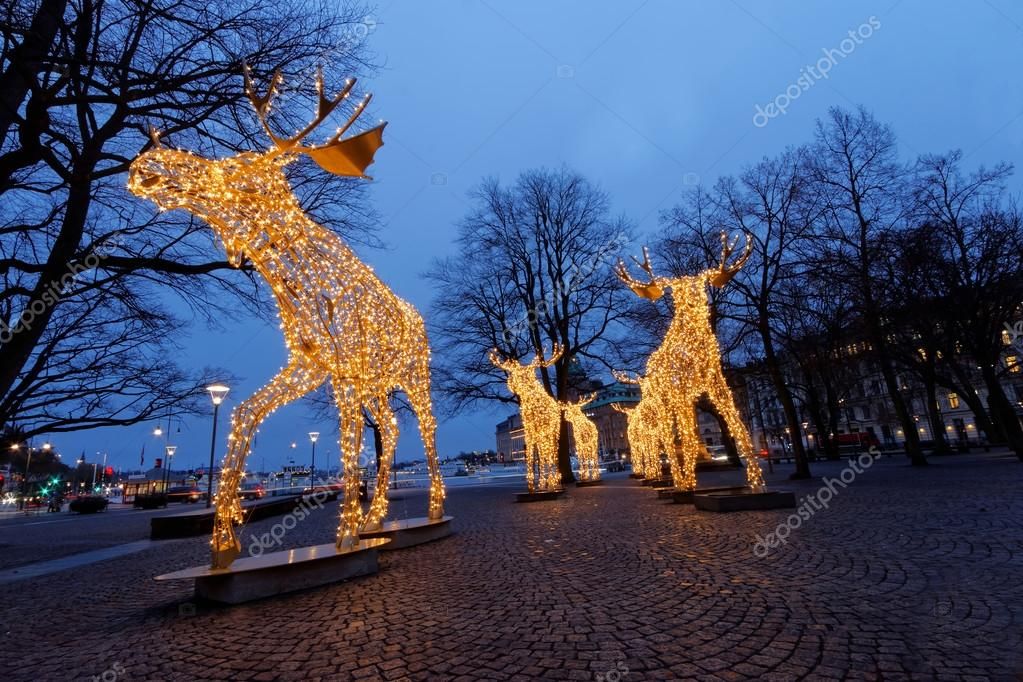 christmas moose herd made of led light stock photo