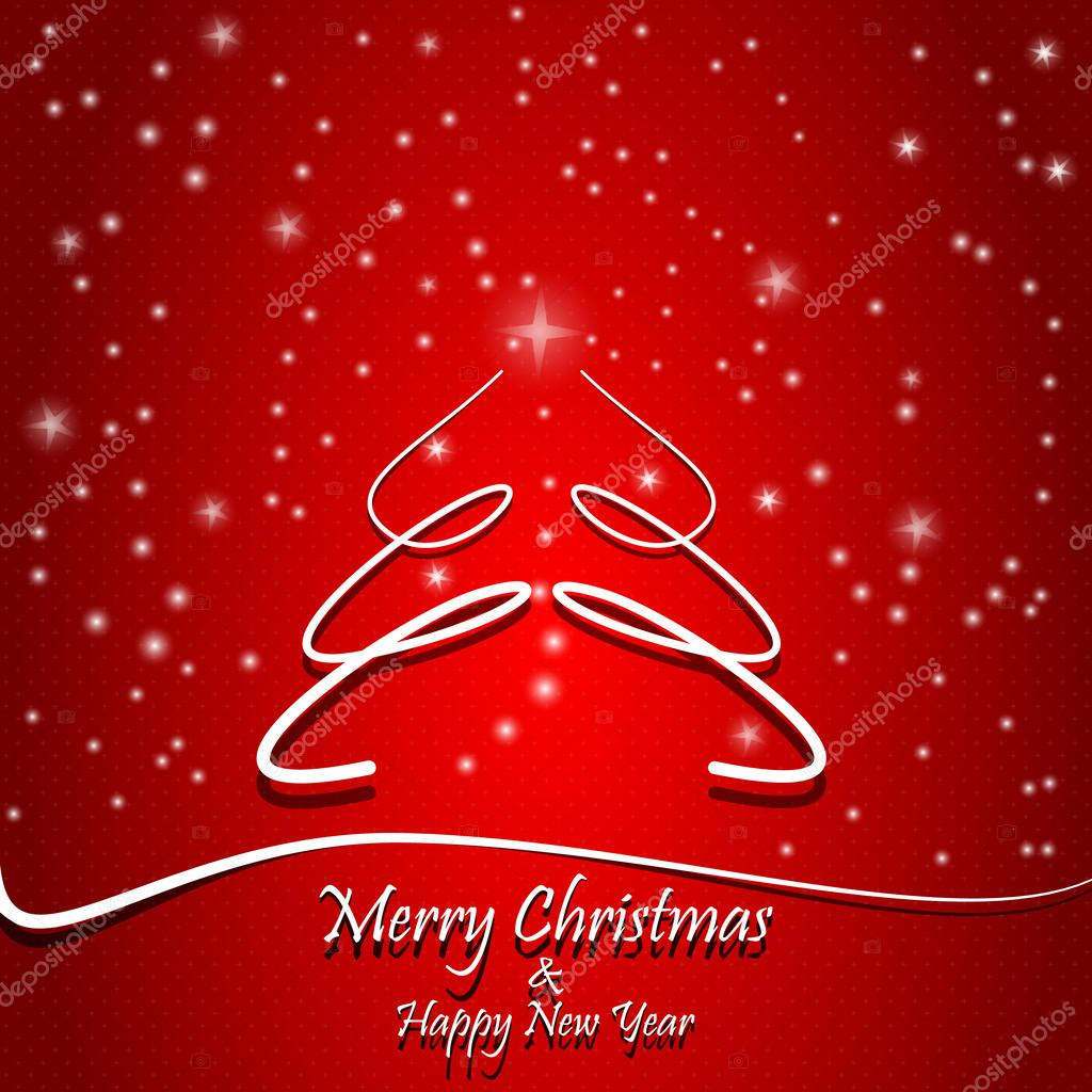 merry christmas and happy new year gift card red background with stars and snow