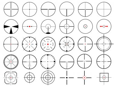 Set of thirty vector cross hairs, isolated on white