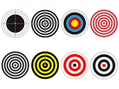 Set of eight vector targets, isolated on white