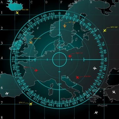 Blue radar screen over square grid lines, and map of Europe territory with smooth light beneath, vector