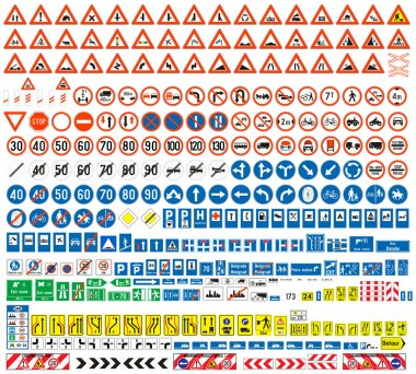 European traffic signs collection. Signs of danger. Mandatory signs.Signs of obligations. Signs of alerts. Supplementary tables. Tables of routing. Temporary traffic signs. 308 signs, vector. stock vector