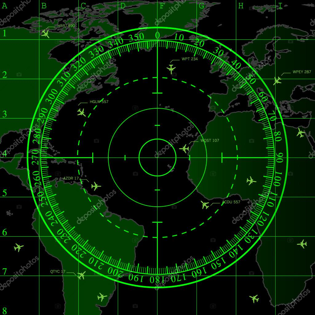 Green Radar Screen Over Square Grid Lines And Highly Detailed Map