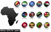 Photo High detailed national flags of African countries, clipped in round shape glossy metal buttons, vector, part 4