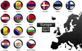 Fotografie High detailed national flags of European countries, clipped in round shape glossy metal buttons, vector , part 1