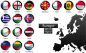 alte dettagliate bandiere nazionali dei paesi europei, ritagliati nel turno di bottoni di metallo lucido forma, vettoriale, parte 2