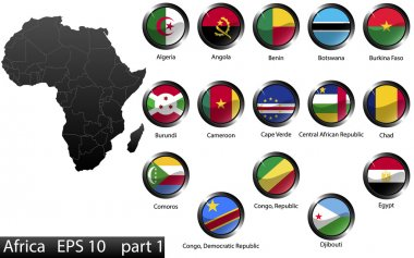 High detailed national flags of African countries, clipped in round shape glossy metal buttons, vector, part 1