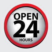 24 Stunden geöffnet Glas Schild mit roten Rand