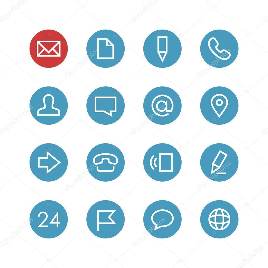 Contacts icon set — Stock Vector © AlexKaplun #101956274