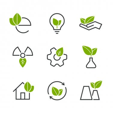 Ecology half colored vector icon set