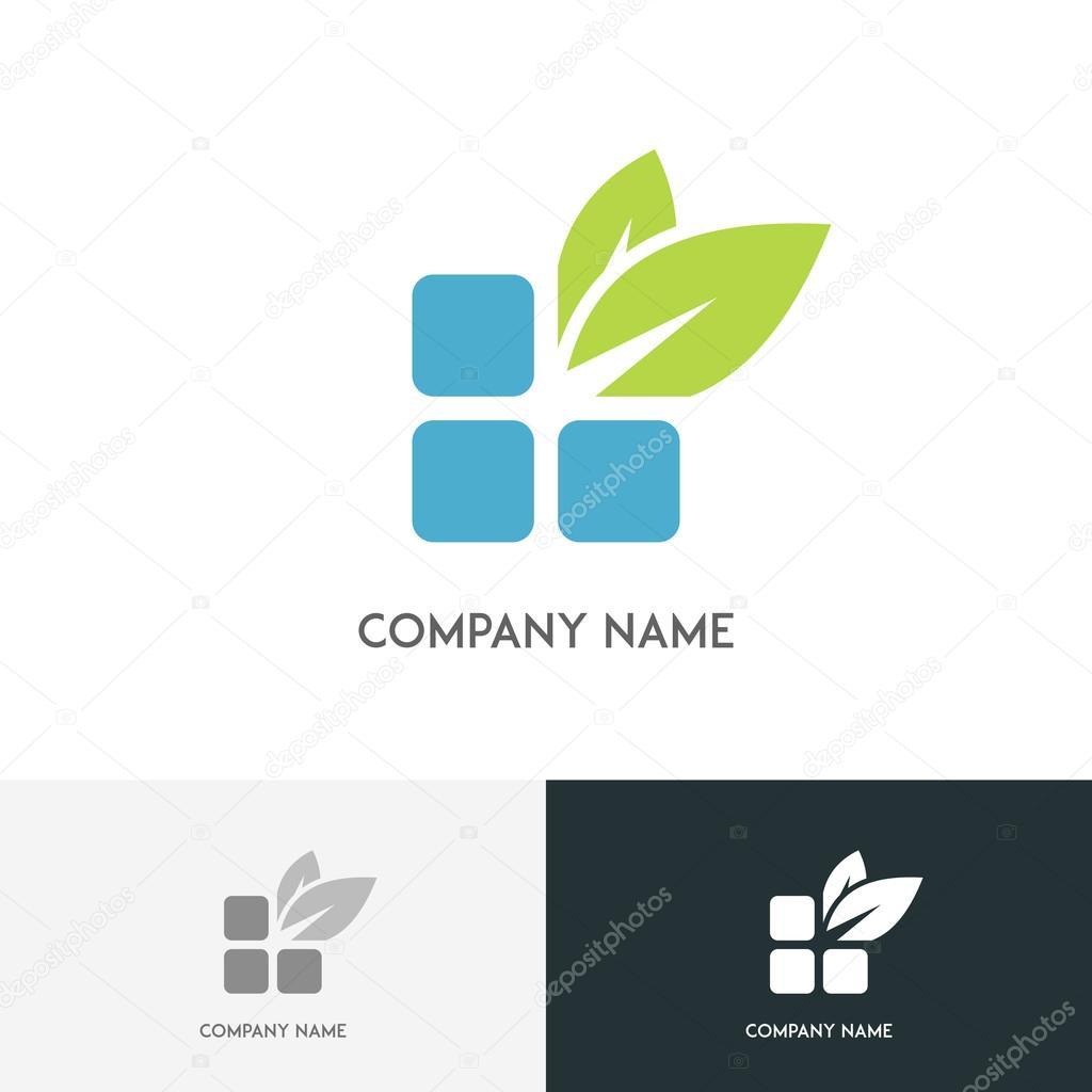 Bricks and green leaves logo