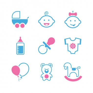 Baby simple vector icon set