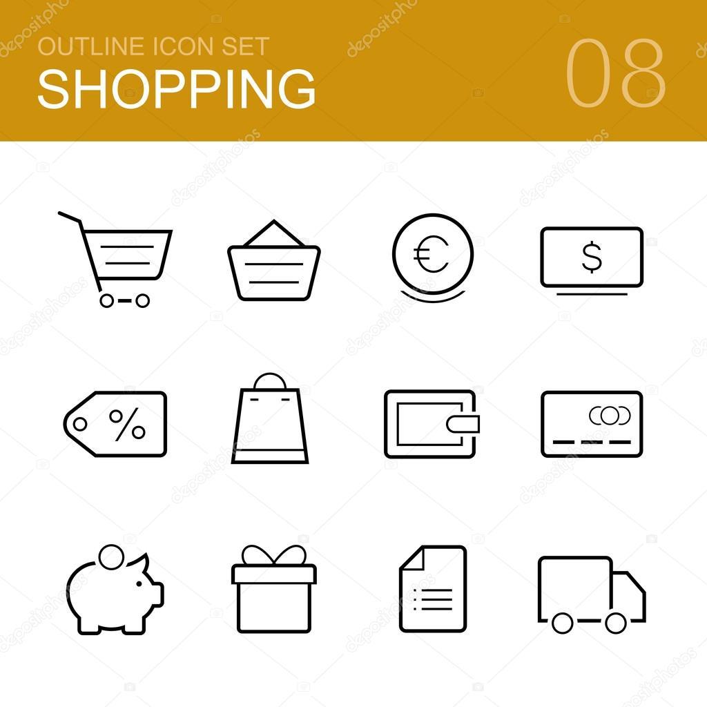 Shopping vector outline icon set