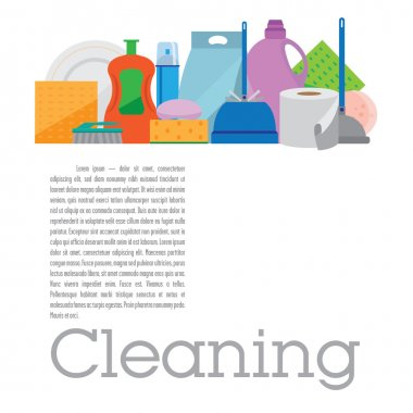 Square banner with items for cleaning
