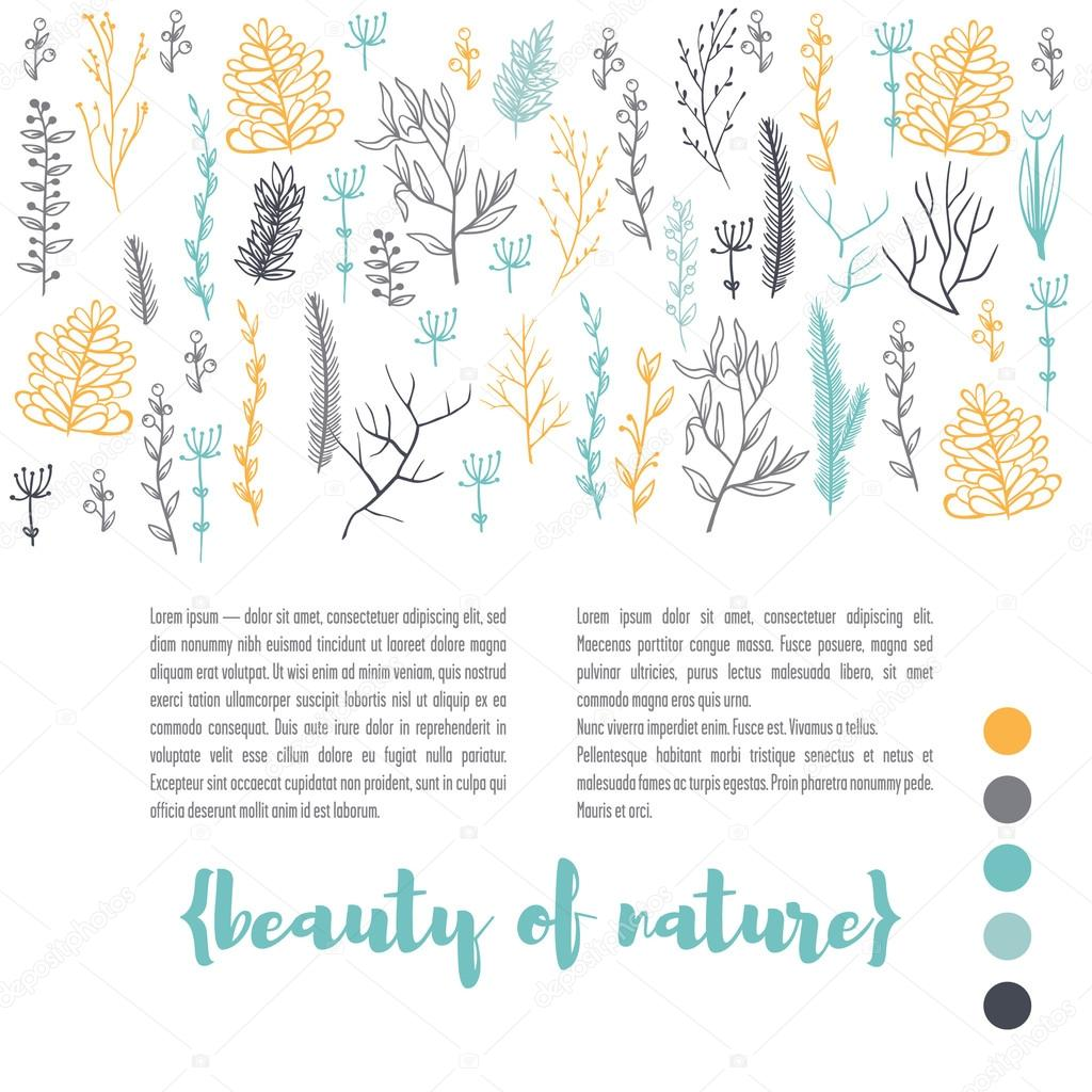 The publishing template is decorated with branches of plants