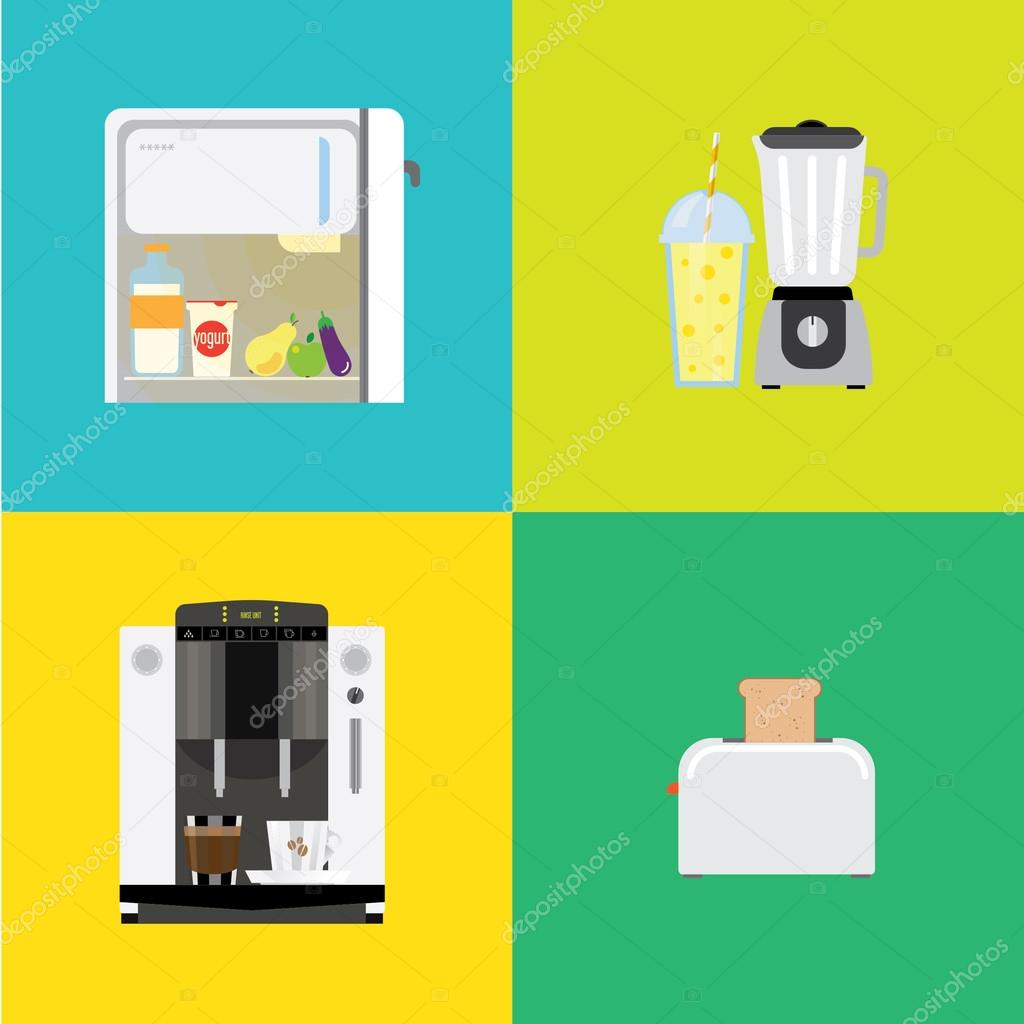 Four banners with different types of kitchen appliances. — Stock ...