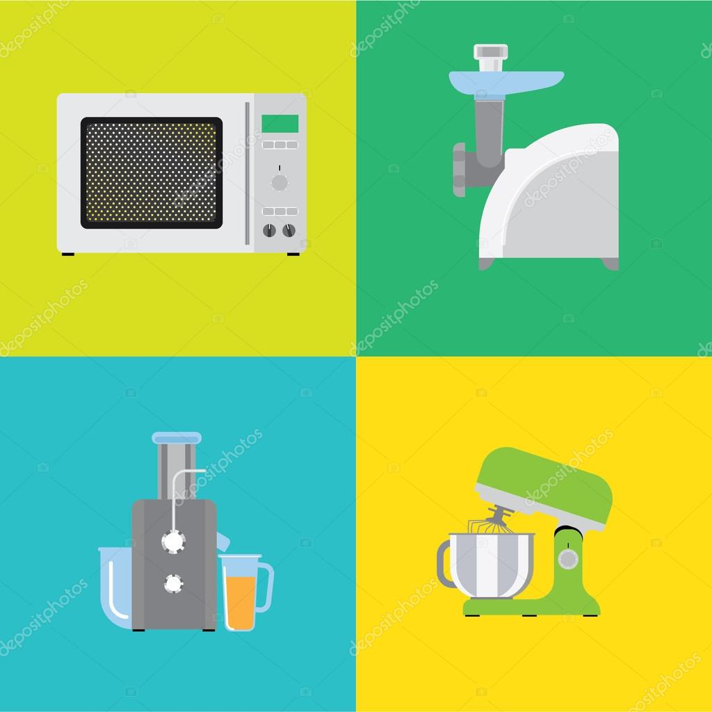 Four Banners With Different Types Of Kitchen Appliances